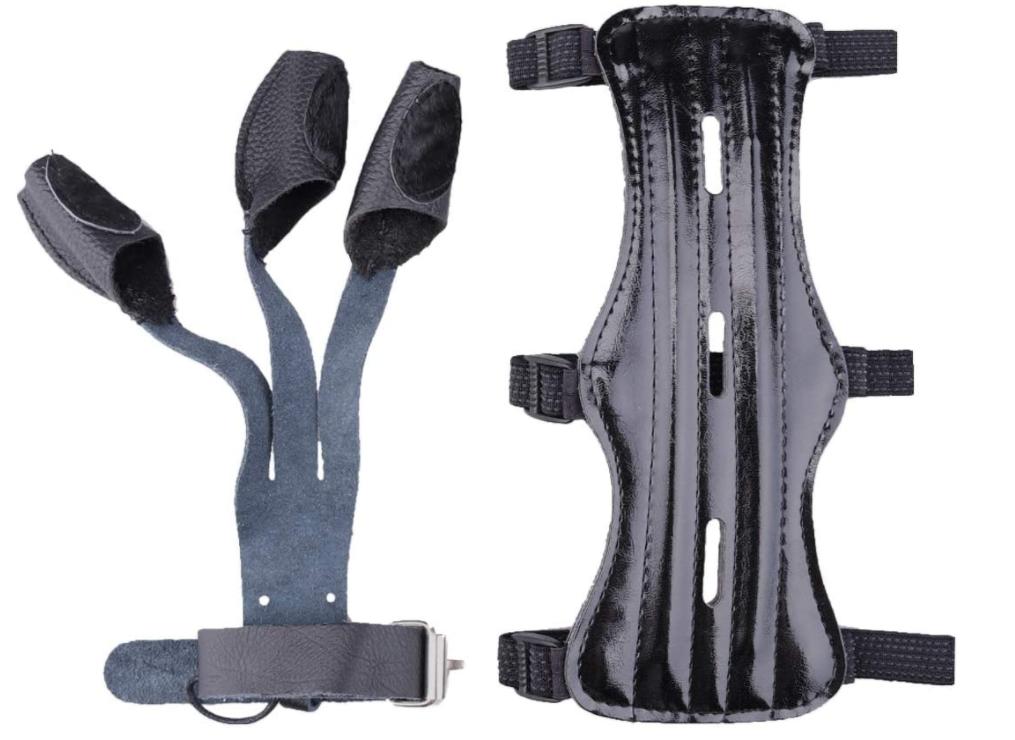 KRATARC Archery Arm Guard with 3 Finger Glove Set